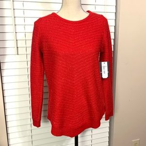 I.N. Studio Holly Holiday Red sequin sweater. NWT